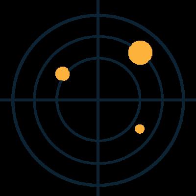 Zielscheibe mit 3 Punkten - nicht im Zentrum - zur Verdeutlichung von ungenauen Vertriebsprognosen